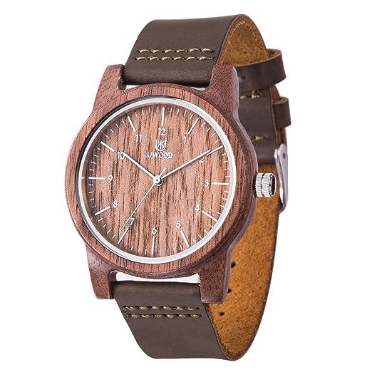 uwood negro reloj de madera de sándalo reloj Casual Fashion madera reloj hombres mujeres(Walnut