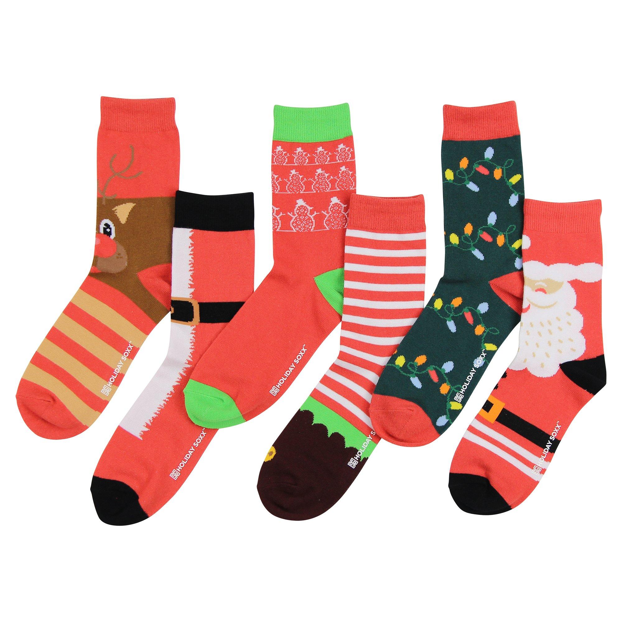 Women's Premium Fun and Colorful Crew Socks (6 Pack) (Christmas ''Ho Ho Ho'')