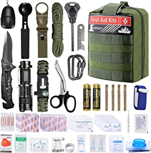 Survival Kit First Aid Kit , 316 PCS Emergency Survival Gear and Equipment SOS Tactical Pouches Molle, Cool Gadgets Gifts for Men Outdoor Camping Hiking Hunting Adventures Car Boat Home Office