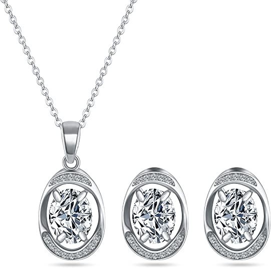 MYKEA Halo Crystal Jewelry Set - 14K White Gold Plated Oval Shaped Cubic Zirconia Rhinestone Pendant Necklace Earring Set for Wedding Bridal Prom Everyday (White)