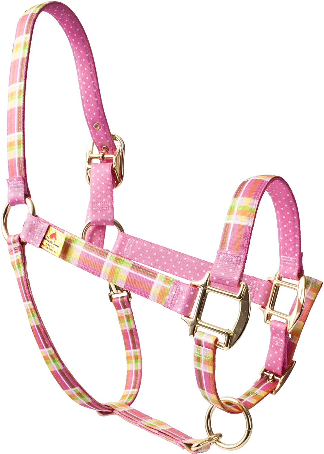 Red Haute Horse MDP1203A High Fashion Horse Horse Halter, Madras Pink