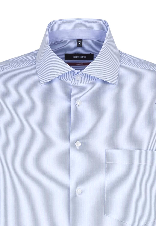 Seidensticker Hemd Modern Fit Blau gestreift Kombim Extra langer Arm Kentkragen