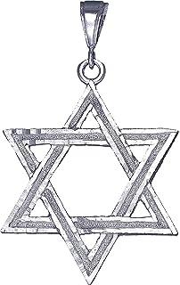 Elite Jewels 10 Karat White Gold Small Star of David Jewish Pendant