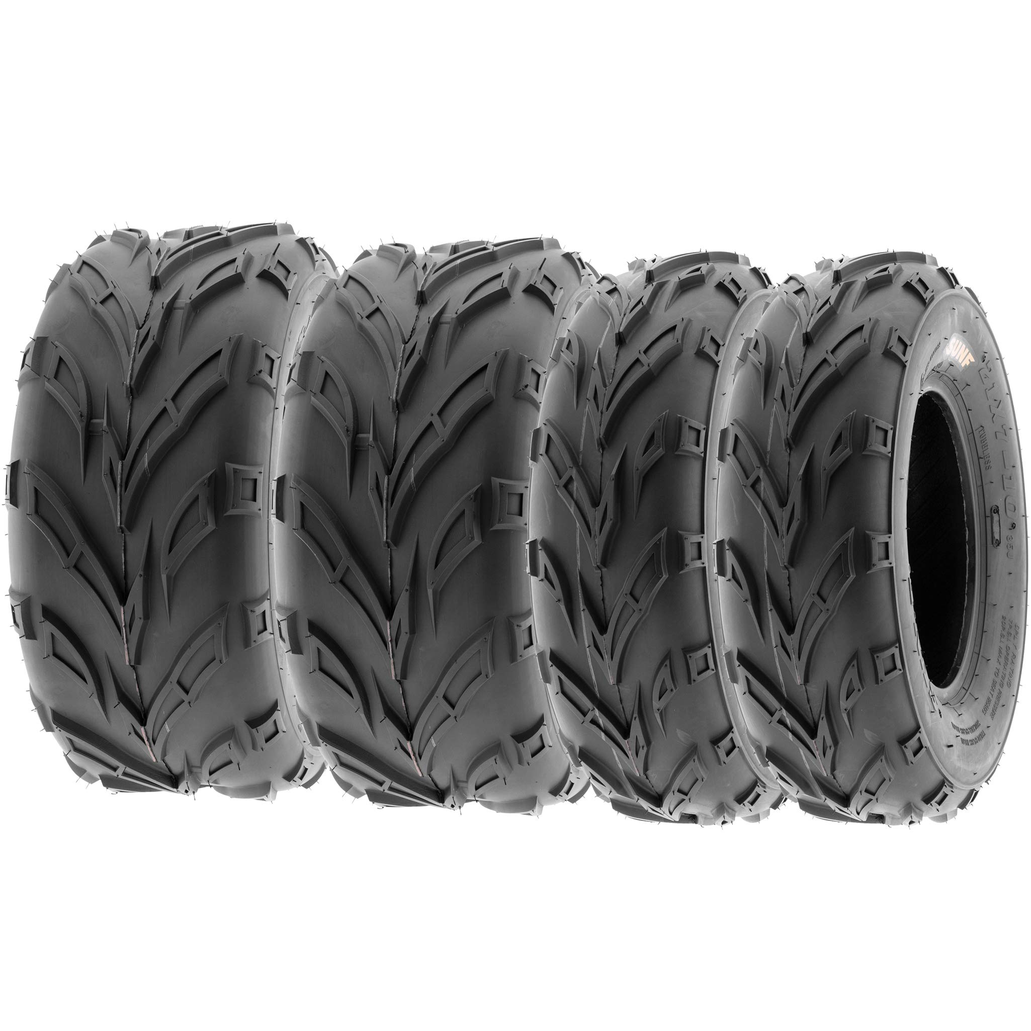 SunF All Terrain Trail Sport ATV UTV 6 Ply Tires 19x7-8 & 22x10-10 Tubeless A004, [Set of 4] by SUNF