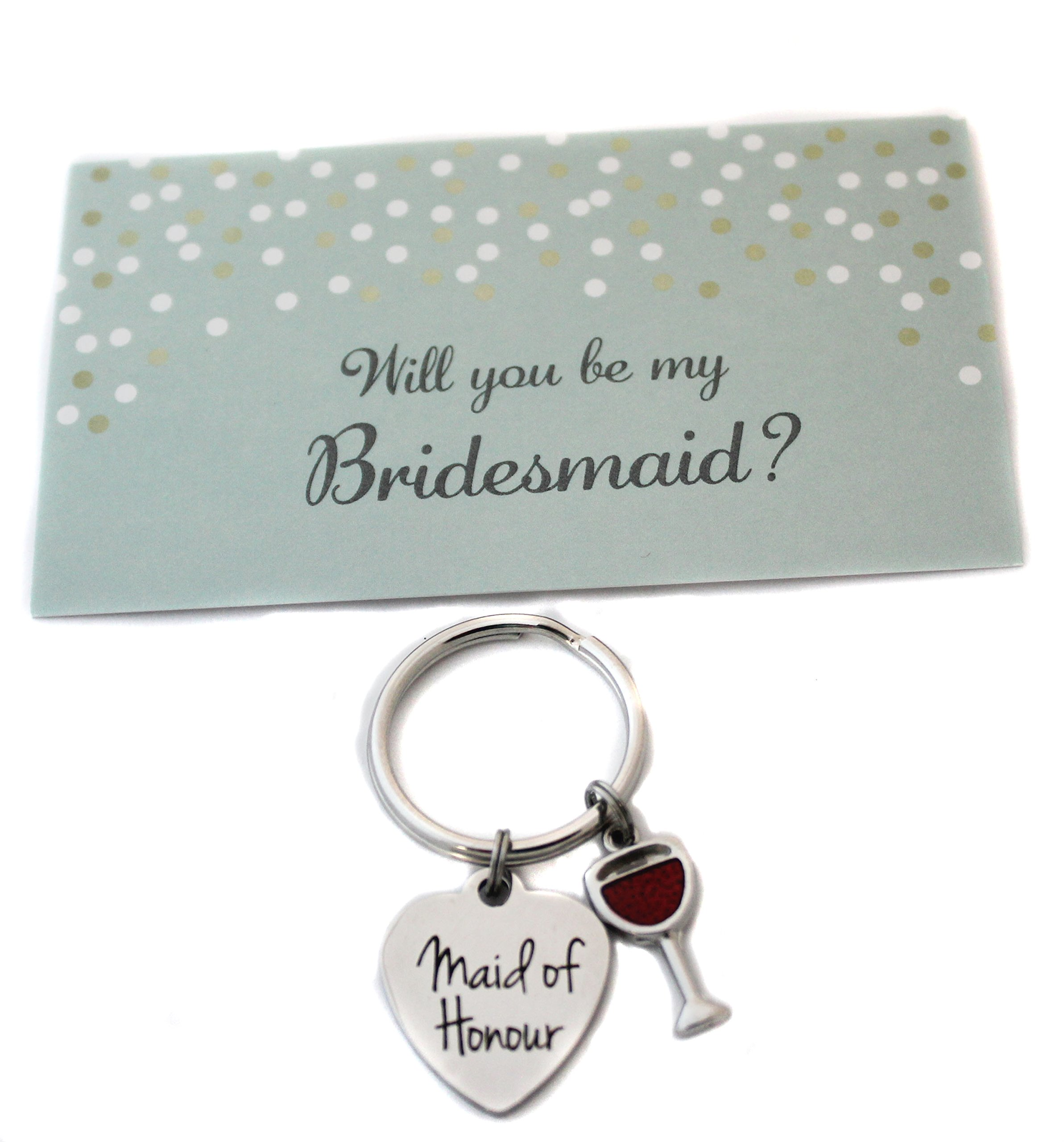 Heart Projects Stainless Steel Maid of Honour Wine Glass Charm Keychain Bag Charm Bridesmaid Proposal Gift