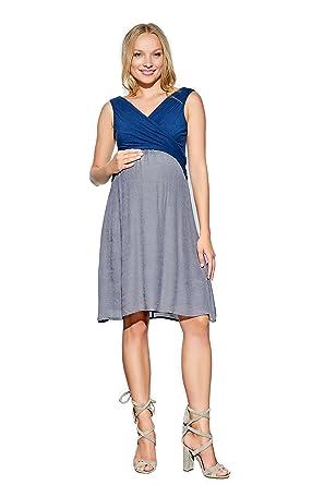 4b4a4e680a541 Maternal America Women's Surplice Babydoll Maternity/Nursing Dress,  Navy/Charcoal, X-