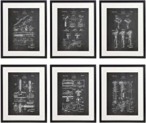 IDIOPIX Shaving Patent Wall Decor Chalkboard Art Print Set of 6 Prints UNFRAMED