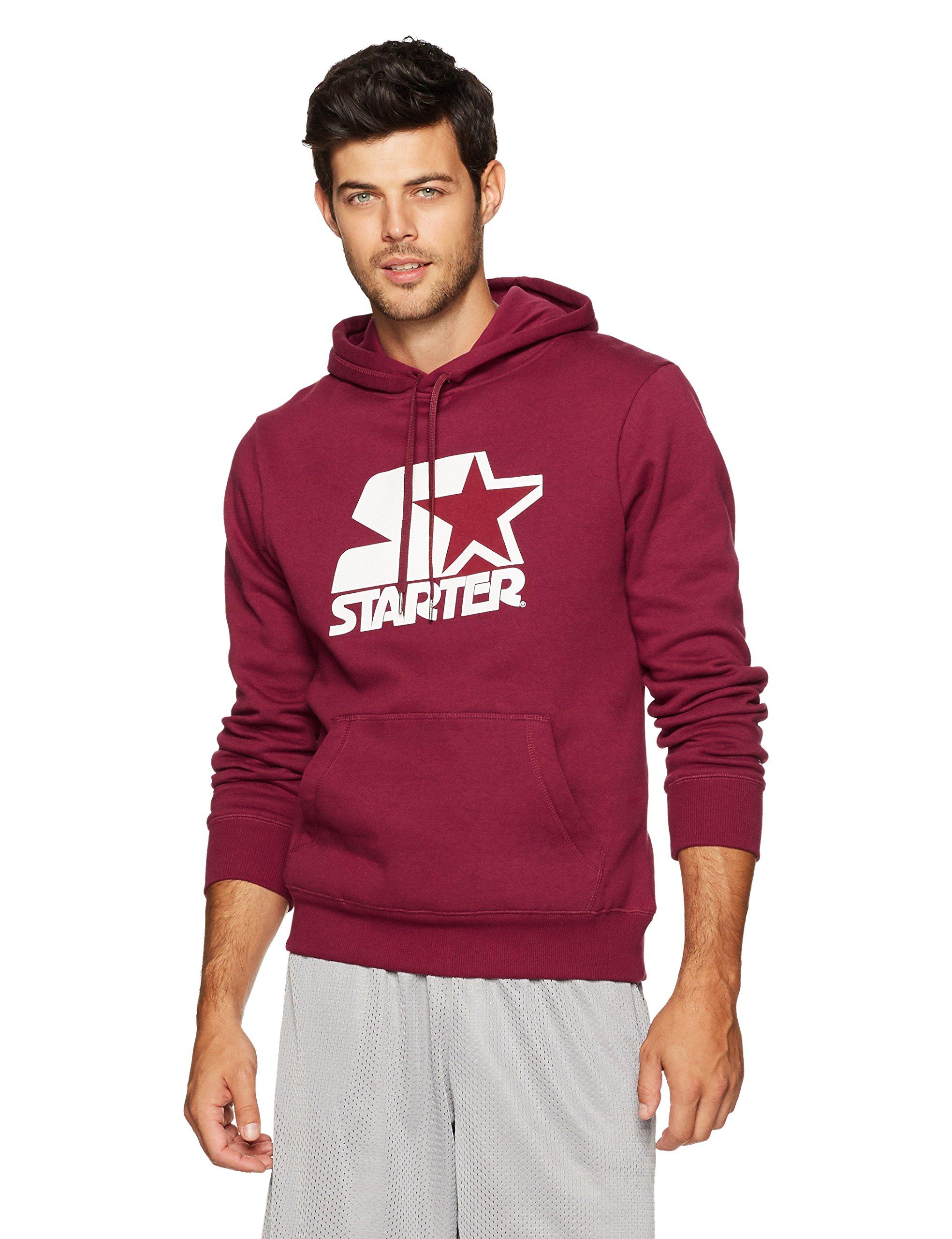 Starter Men's Pullover Logo Hoodie, Prime Exclusive, Team Maroon, Medium