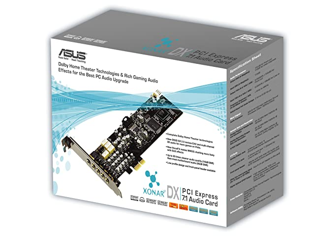 ASUS Xonar DX, 24 Bit, 7.1, 120 Db, PCI-Express Audio Card