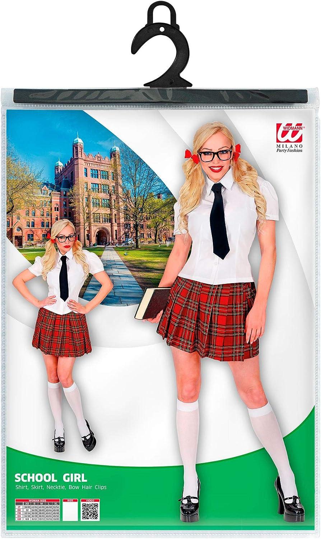 color//modelo surtido color blanco//rojo WIDMANN 02812 Disfraz de chica escolar talla M para mujer