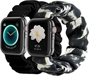 Compatible with Scrunchies Apple Watch Bands 38mm 40mm, Women Cloth Pattern Printed Fabric Wristbands Straps Elastic Scrunchy Band for iWatch Series 6 5 4 3 2 1 SE (Small Black, Gray-White)