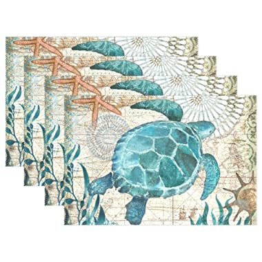MOYYO Sea Turtle Placemats Heat Resistant Non-Slip Polyester Place mats Washable Table Mats Easy to Clean for Dining Kitchen Table Decor Set of 4