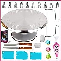 Soporte giratorio para tartas de aluminio, 50 piezas, kit de herramientas profesionales para decoración de tartas con…