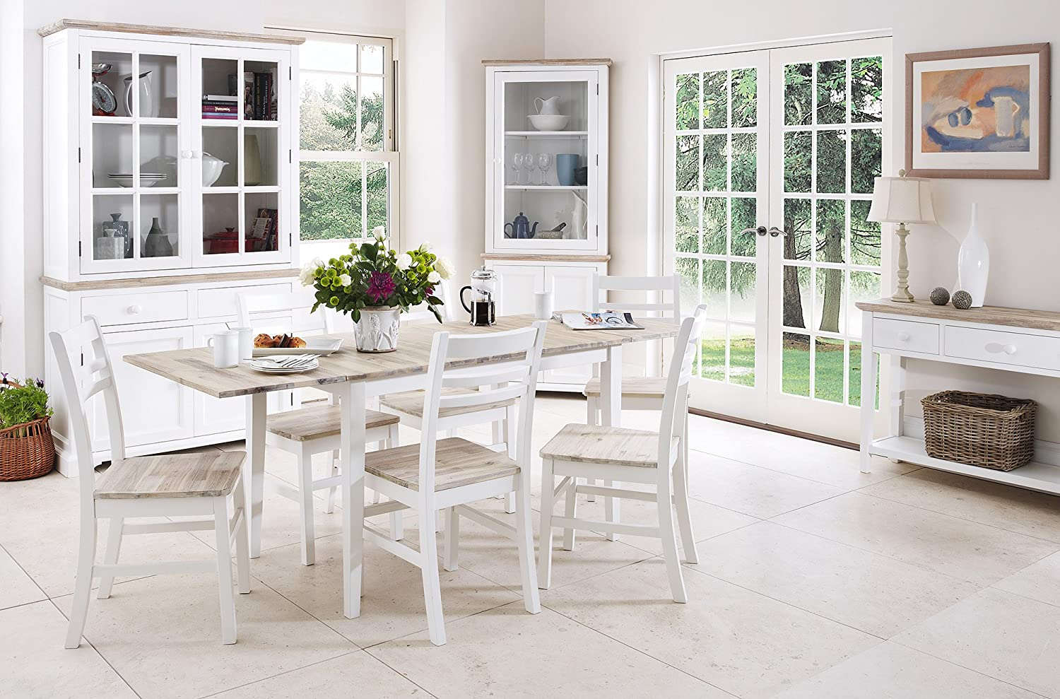 Florence white extending table and 6 chairs White kitchen table