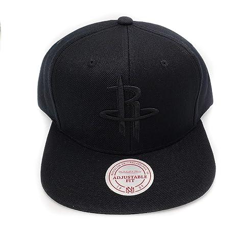 3efc4979f518 Amazon.com   Mitchell   Ness Houston Rockets Black on Black HWC Current Solid  Wool Adjustable Snapback Hat NBA   Sports   Outdoors