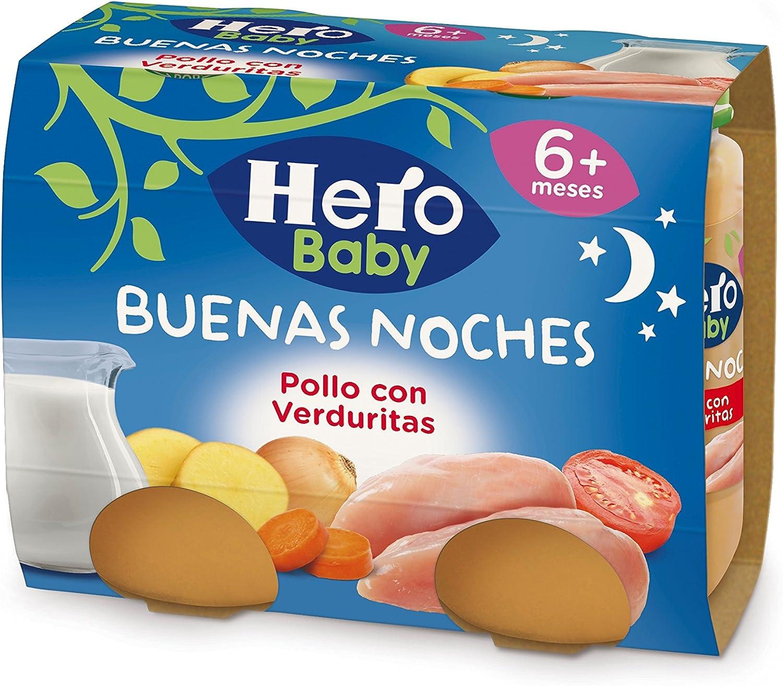 Hero Baby Buenas Noches Pollo con Verduritas Tarrito de Puré Para Bebés a partir de 6 meses Pack de 6 u de 2 x 190 g: Amazon.es: Alimentación y bebidas