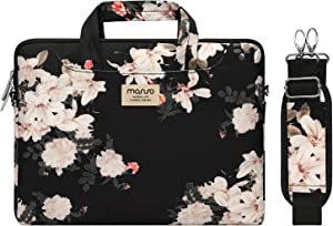 MOSISO Laptop Shoulder Bag Compatible with MacBook Pro 16 inch A2141 2020 2019, 15 15.4 15.6 inch Dell HP Acer Sony Chromebook, Polyester Syringa Carrying Briefcase Sleeve Case with Trolley Belt