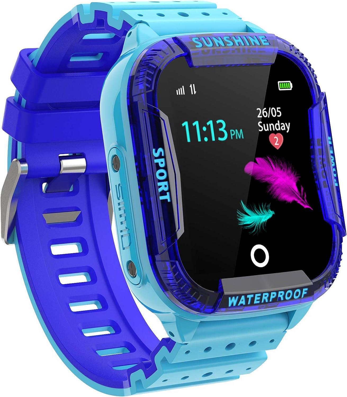 PTHTECHUS Reloj Inteligente Niño, Smartwatch para Niños IP67 con WiFi, LBS, Juegos, Llamada, SOS, Cámara, Chat de Voz, Modo de Clase, Reloj Regalo para Niños de 3-12 años, Azul