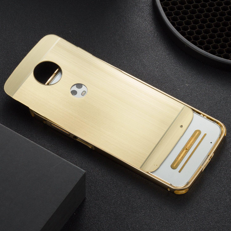 DAMONDY Moto Z3 Play Case, Luxury Ultra thin Imitation Metal Brushed Premium Aluminum Shockproof Protective Bumper Hard Back Case Cover for Motorola Moto Z3 Play-Silver by DAMONDY (Image #4)