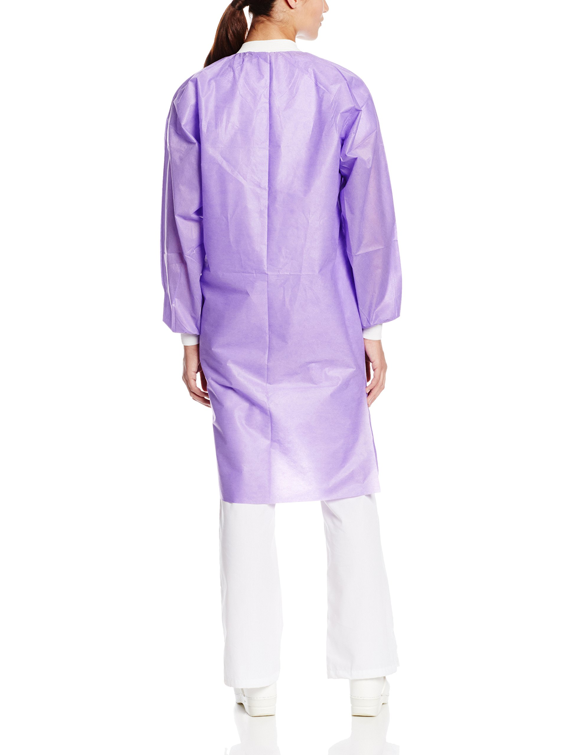 ValuMax 3560PPL Easy Breathe Cool and Strong, No-Wrinkle, Professional Disposable SMS Knee Length Lab Coat, Purple, L, Pack of 10 by Valumax (Image #2)
