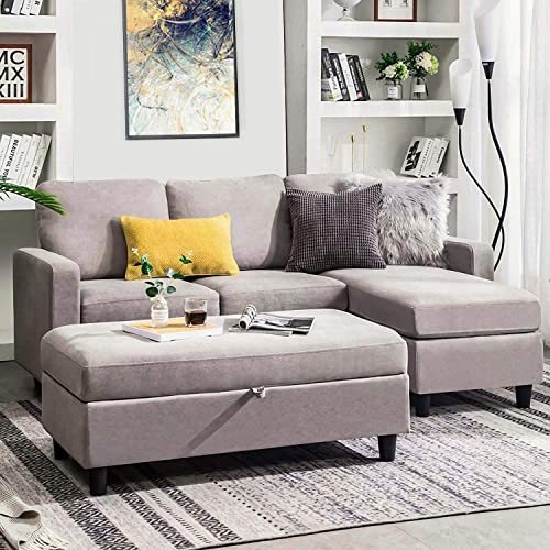 HONBAY Grey Sectional Couch with Ottoman, Convertible L Shaped Chaise Sofa Set Sectional with Left or Right Facing Grey