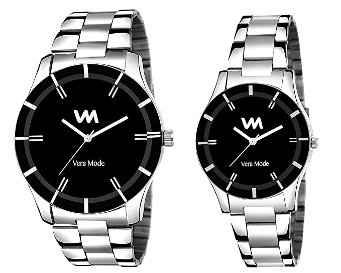 Analogue Black Dial Couple Watch