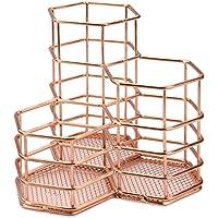 Rose Gold Hexagonal Desk Tidy | Mesh Triple Holder | Office & Bathroom Organiser | Pencil & Makeup Brush Storage | Rust…