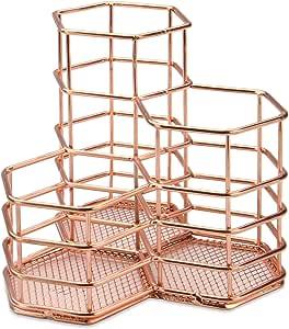 Rose Gold Hexagonal Desk Tidy   Mesh Triple Holder   Office & Bathroom Organiser   Pencil & Makeup Brush Storage   Rust-Proof Pencil Pot   M&W