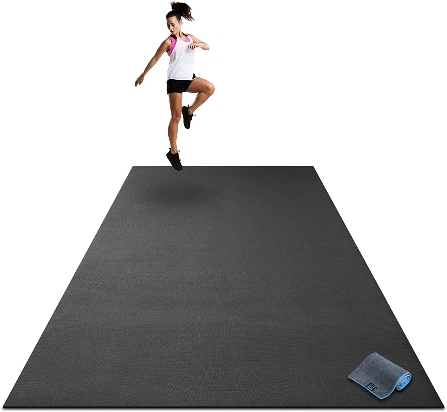 """Premium Extra Large Exercise Mat - 9' x 6' x 1/4"""" Ultra Durable, Non-Slip, Workout Mats for Home Gym Flooring - Plyo, MMA, Cardio Mat - Use with or Without Shoes (108"""" Long x 72"""" Wide x 6mm Thick)"""