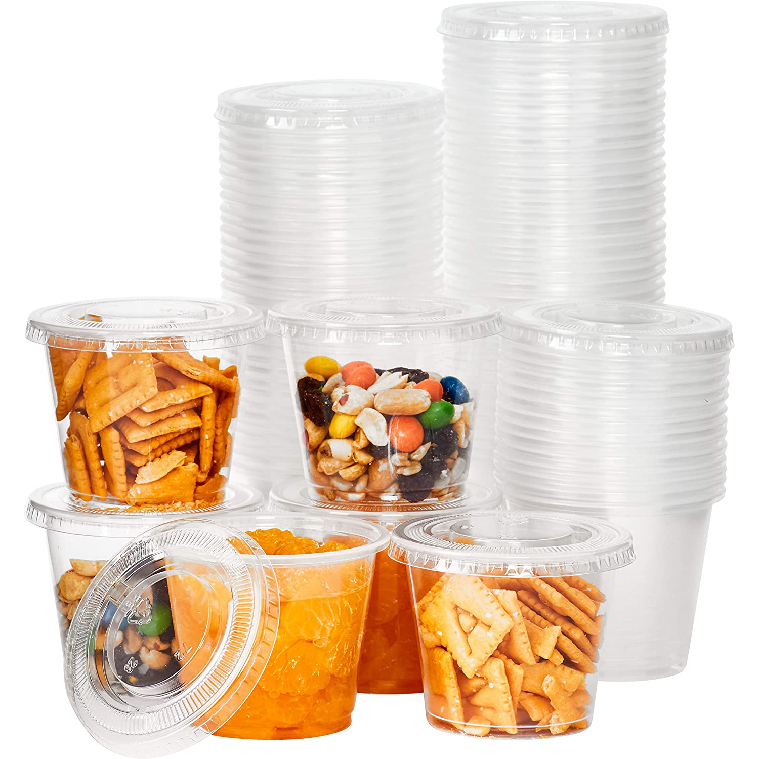 Leakproof, BPA Free 5.5oz Souffle Cups and Lids 100ct. Stackable Portion Containers for Sampling, Salad Dressing, Sauces or Jello Shots. Plastic Food Prep Supplies for Restaurant, Catering or Deli