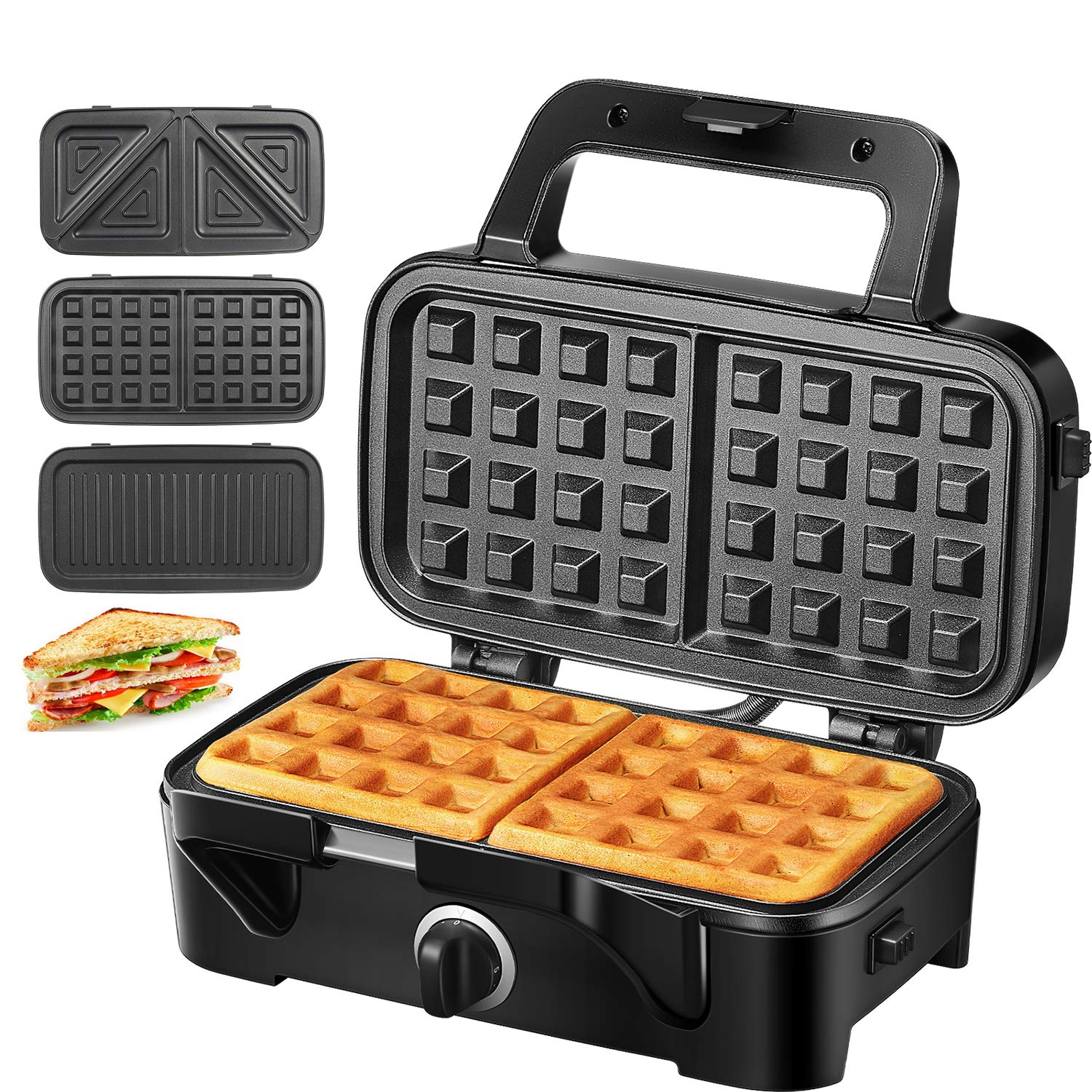 TIBEK Sandwich Maker, Waffle Maker, Sandwich Grill, 1200-Watts, Temperature Control, 3-in-1 Detachable Non-stick Coating, LED Indicator Lights, Cool Touch Handle, Anti-Skid Feet, Black by TIBEK