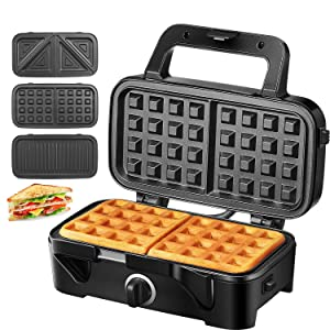 TIBEK Sandwich Maker, Waffle Maker, Sandwich Grill, 1200-Watts, Temperature Control, 3-in-1 Detachable Non-stick Coating, LED Indicator Lights, Cool Touch Handle, Anti-Skid Feet, Black