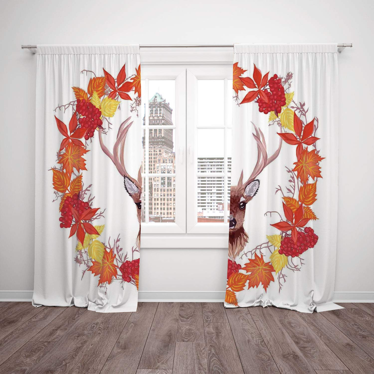Thermal Insulated Blackout Window Curtain Fall Decorations Reindeer Head In Rounded Wreath Frame Made With Aesthetic Fall Leaves Brown Orange Living Room Bedroom Kitchen Cafe Window Drapes 2 Panel Set Amazon In Home Kitchen