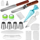 Cake Decorating Supplies Kit Masmatic 25PCS Set 1 Cake Turntable 4 Russian Piping Tips 2 Russian Tip Couplers 1 Leaf Tip 1 Leaf Tip Coupler 2 Spatulas 3 Smoothers and 11 Pastry bags