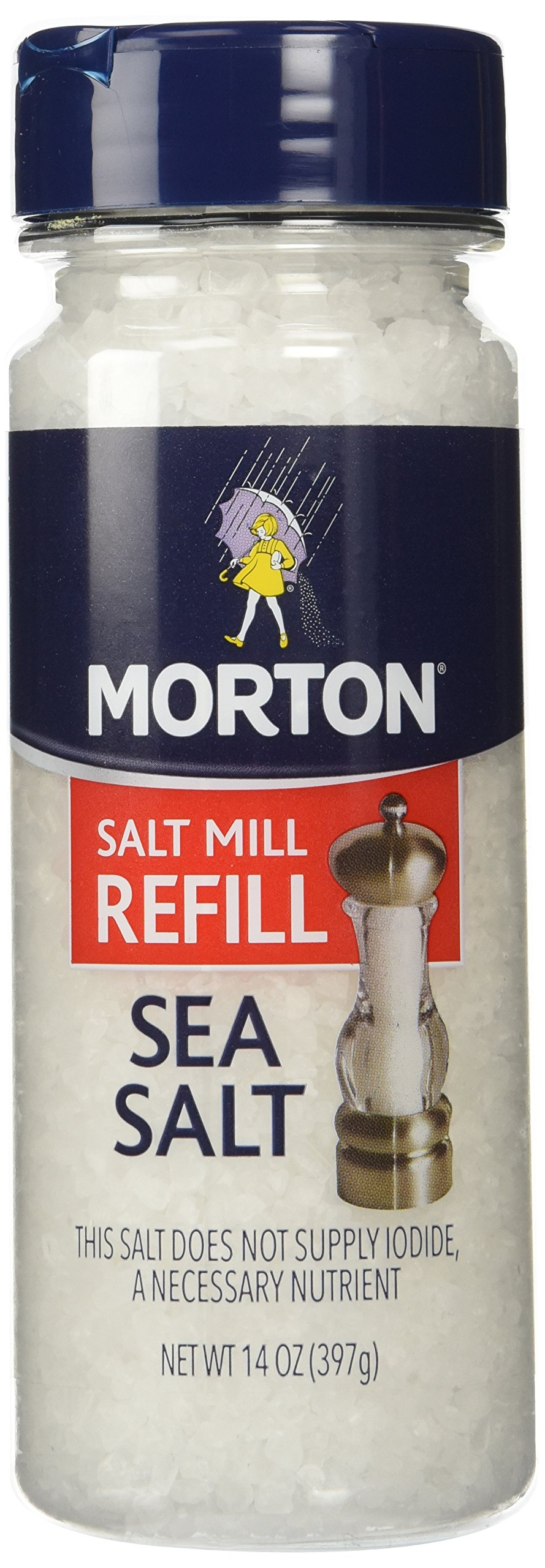 Morton Sea Salt Mill Refill 14 Ounce Canister (Pack of 2)
