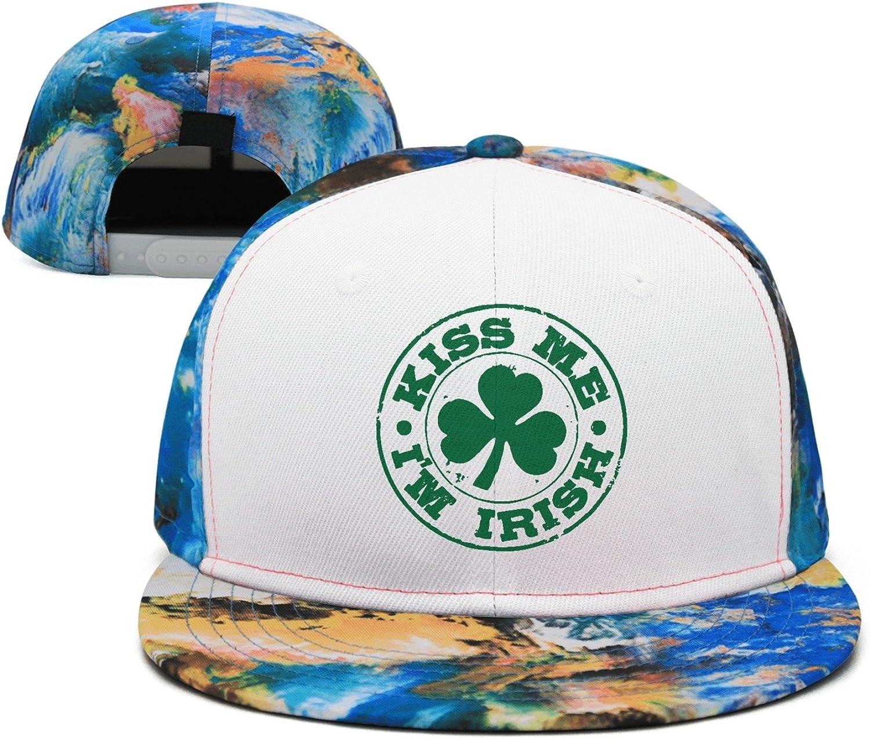 SJSNBZ Kiss Me Im Irish Breathable Unisex Adult Mens Polychrome Baseball Caps