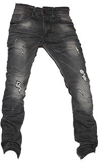 bb33f36ad836 US Marshall Herren Slim Fit Jeans mit Knierissen Schwarz Denim Enge ...