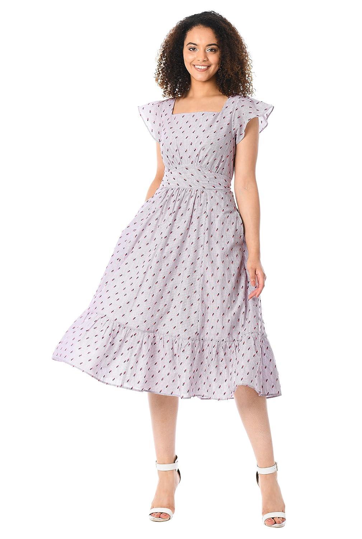 1940s Style Dresses | 40s Dress, Swing Dress eShakti Womens Flutter Sleeve Cotton Pinstripe Dress $62.95 AT vintagedancer.com