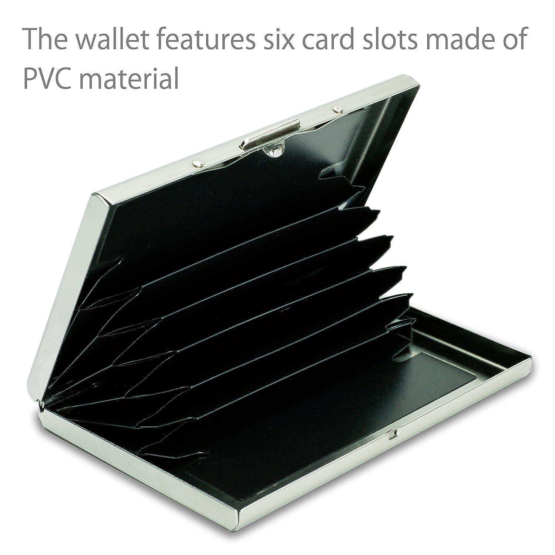 Nero Porta 6 Carte di Credito Protezione Elegante dei Dati Personali Tecnologia Anti RFID e NFC MyGadget Portafoglio Alluminio Nome o bancarie
