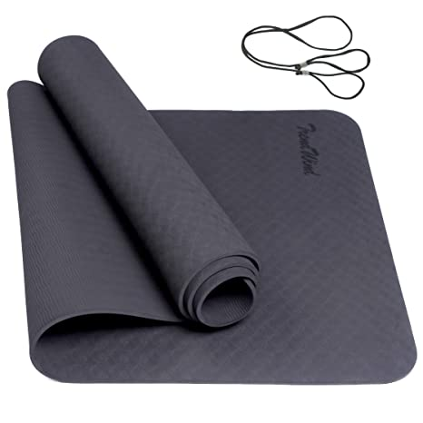 TRENDWIND Yoga Mat,6mm Extra Thick TPE Eco Friendly Non Slip Fitness Exercise Mat with Carrying Strap for All-Purpose of Yoga, Pilates & Floor ...