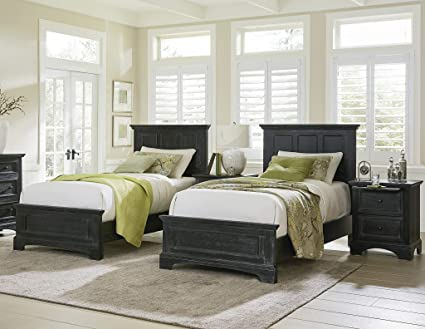 Inspired By Bassett Bp 4200 115b Farmhouse Basics Twin Bedroom Set Rustic Black