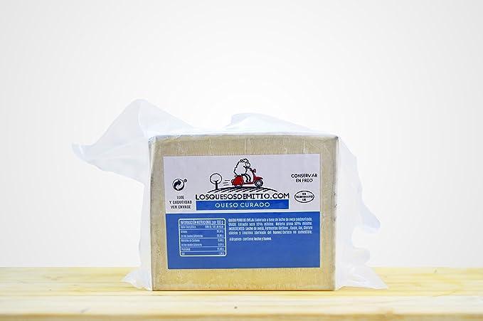 Queso de oveja curado gourmet de Losquesosdemitio, cuña de 500g, envasado al vacío