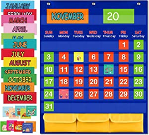 Monthly Calendar Pocket Chart with 112 Cards, (97 Illustrated Activity Cards, 15 Dry Erasable Flash Cards and 3 Hooks), for Kids Learning for Home or School. (27.5'' X 22.4'')