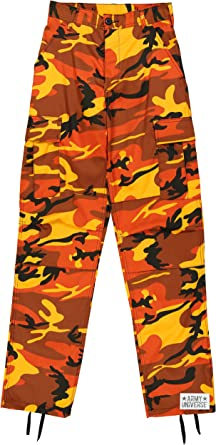Army Universe Orange Camouflage Poly Cotton Cargo BDU Pants Camo Military  Fatigues Pin (X- 28e54c80231