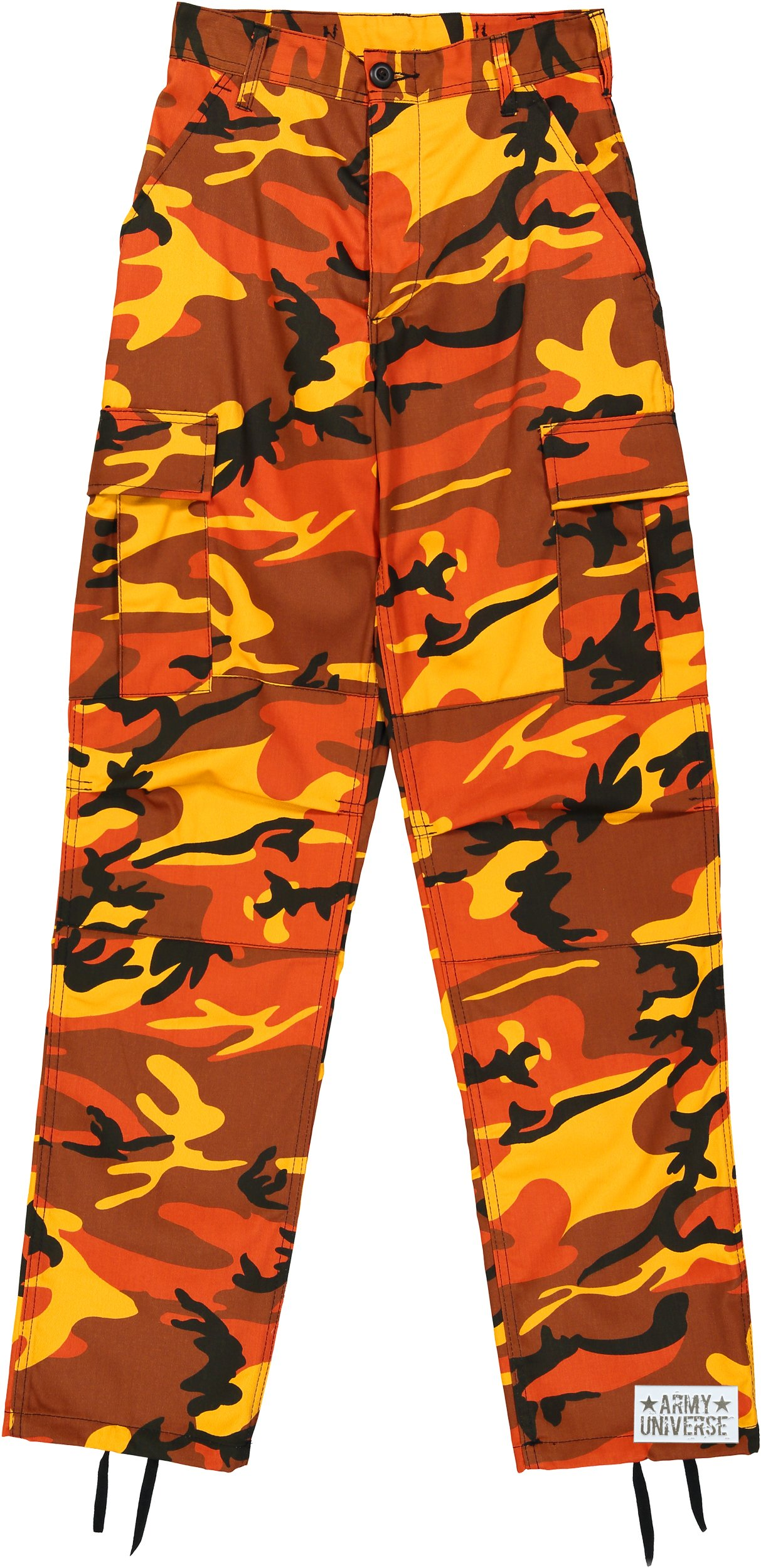 Army Universe Orange Camouflage Poly Cotton Cargo BDU Pants Camo Military Fatigues Pin (Large Regular W 35-39 - I 29.5-32.5)