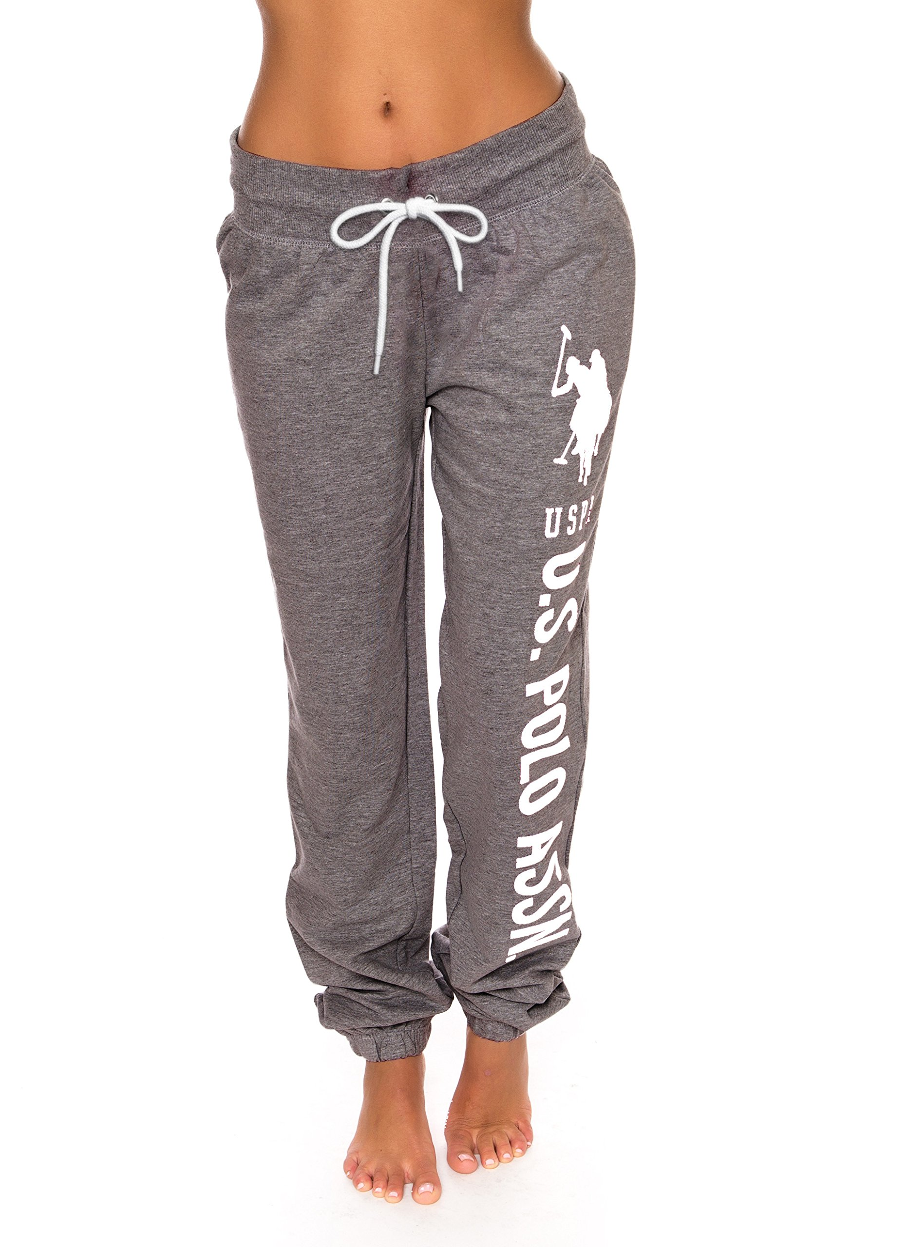U.S. Polo Assn. Womens Printed French Terry Boyfriend Jogger Sweatpants Charcoal Heather Large by U.S. Polo Assn.