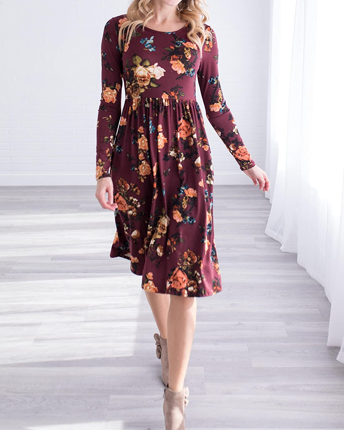 50ba8878e Mafulus Womens Floral Casual Dresses Long Sleeve Crew Neck Swing Midi Dress  with Pockets at Amazon Women's Clothing store: