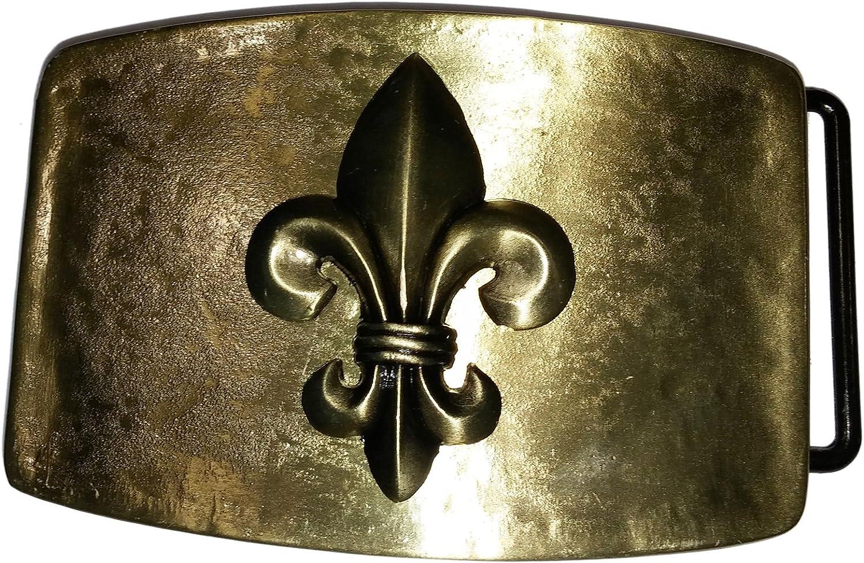 Shirtmatic Buckle Boucle de ceinture fleur de lis Bourbon lys m/édi/éval laiton couleurs Brass anktik style