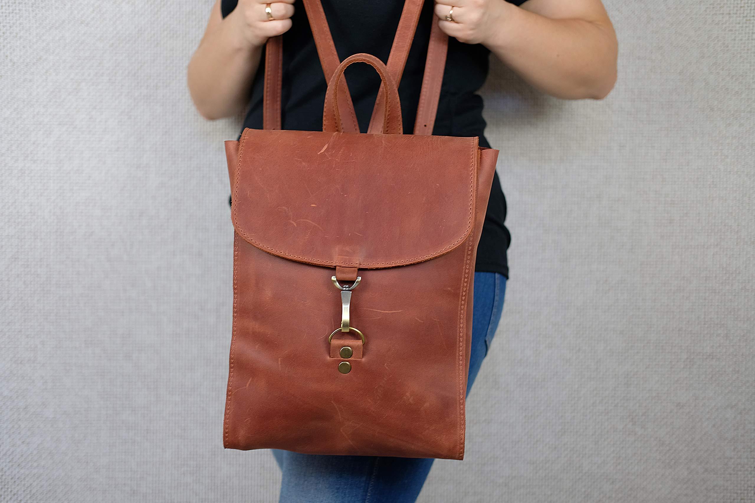 Leather backpack, Women backpack, Leather backpack women, Brown women backpack, Gift anniversary, Shoulder Bag, Monogram, Work, Handbag 12.6 x 9.5 inch