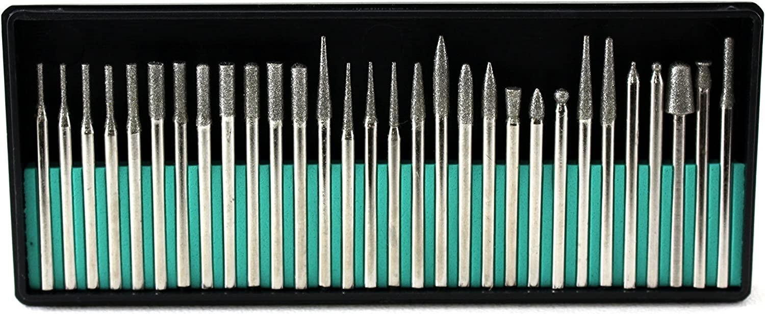 30pcs 2mm Cylindrial Point Diamond Burr Glass Drill Bits for Rotary Tools